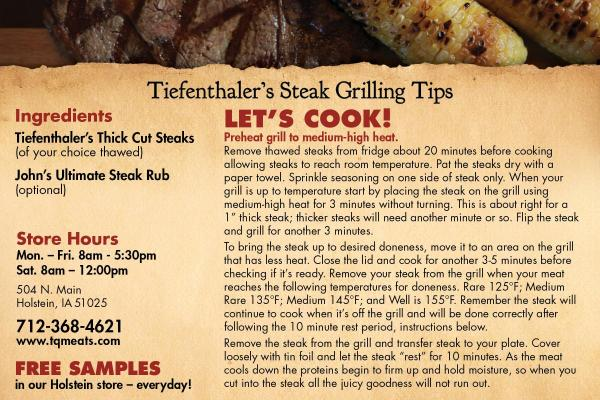 Iowa Steak Grilling Tips
